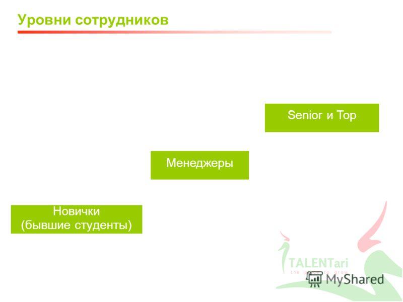 Уровни сотрудников Новички (бывшие студенты) Менеджеры Senior и Top