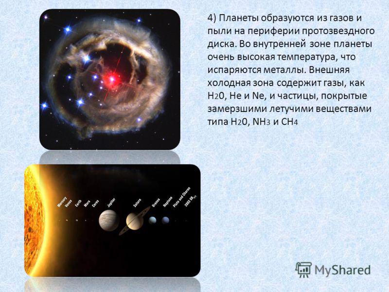 4) Планеты образуются из газов и пыли на периферии протозвездного диска. Во внутренней зоне планеты очень высокая температура, что испаряются металлы. Внешняя холодная зона содержит газы, как H 2 0, He и Ne, и частицы, покрытые замерзшими летучими ве