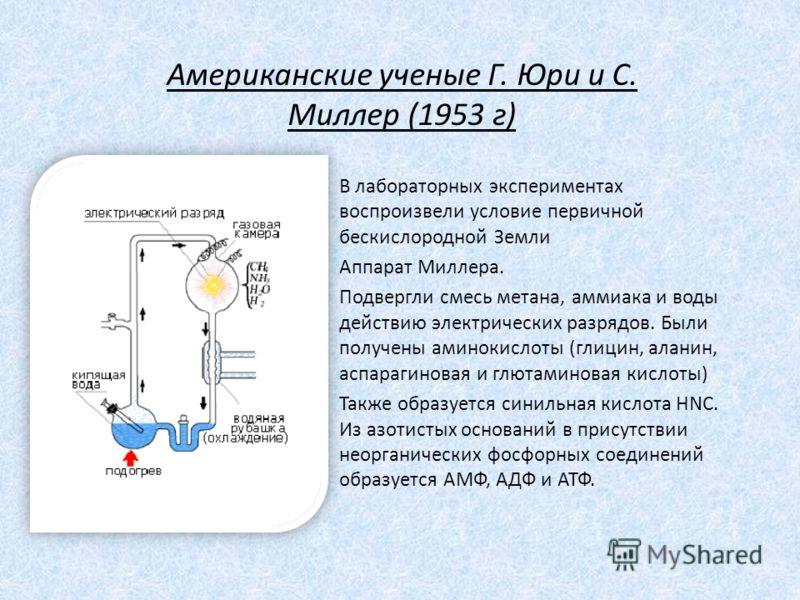 В лабораторных экспериментах воспроизвели условие первичной бескислородной Земли Аппарат Миллера. Подвергли смесь метана, аммиака и воды действию электрических разрядов. Были получены аминокислоты (глицин, аланин, аспарагиновая и глютаминовая кислоты