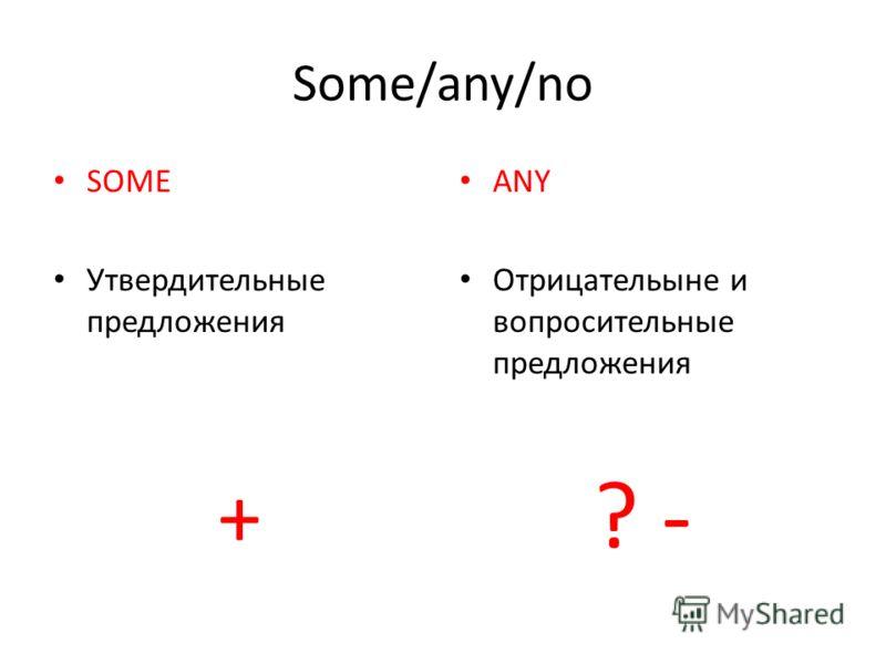 Some/any/no SOME Утвердительные предложения + ANY Отрицательыне и вопросительные предложения ? -
