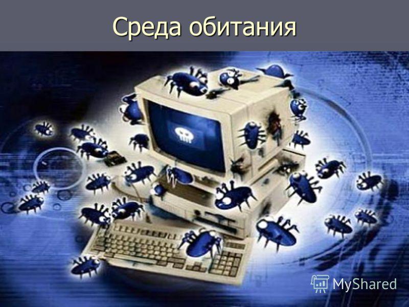 Среда обитания В зависимости от среды обитания основными типами компьютерных вирусов являются: В зависимости от среды обитания основными типами компьютерных вирусов являются: Программные (поражают файлы с расширением. СОМ и.ЕХЕ) вирусы Программные (п