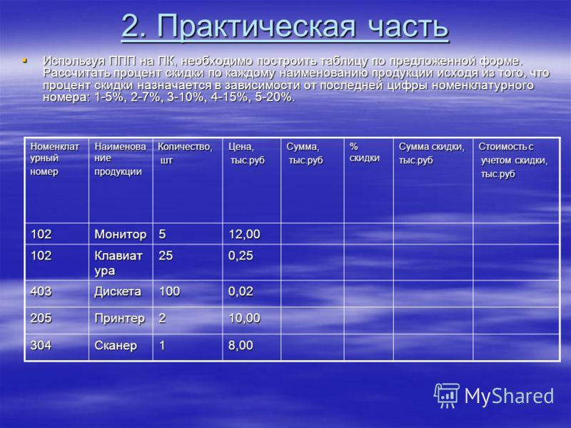 2. Практическая часть Используя ППП на ПК, необходимо построить таблицу по предложенной форме. Рассчитать процент скидки по каждому наименованию продукции исходя из того, что процент скидки назначается в зависимости от последней цифры номенклатурного