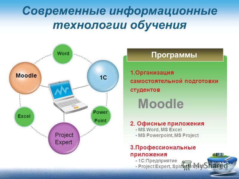 Современные информационные технологии обучения Word Excel Power Point Title in here Moodle Title in here Project Expert Title in here 1C 1.Организация самостоятельной подготовки студентов Moodle 2. Офисные приложения - MS Word, MS Excel - MS Powerpoi