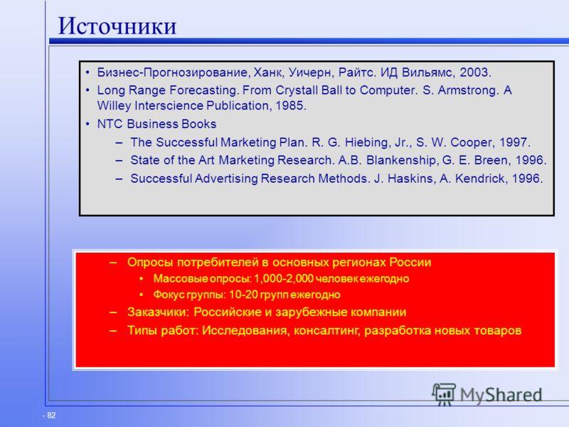- 82 Источники Бизнес-Прогнозирование, Ханк, Уичерн, Райтс. ИД Вильямс, 2003. Long Range Forecasting. From Crystall Ball to Computer. S. Armstrong. A Willey Interscience Publication, 1985. NTC Business Books –The Successful Marketing Plan. R. G. Hieb