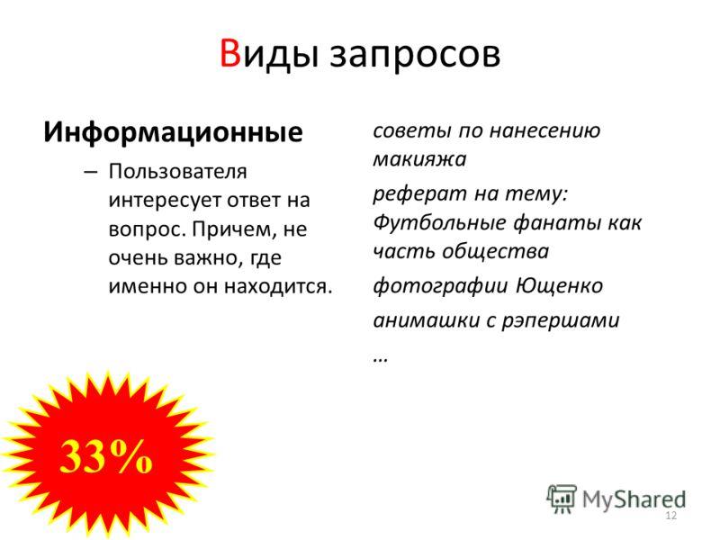 Виды запросов Информационные – Пользователя интересует ответ на вопрос. Причем, не очень важно, где именно он находится. советы по нанесению макияжа реферат на тему: Футбольные фанаты как часть общества фотографии Ющенко анимашки с рэпершами … 33% 12