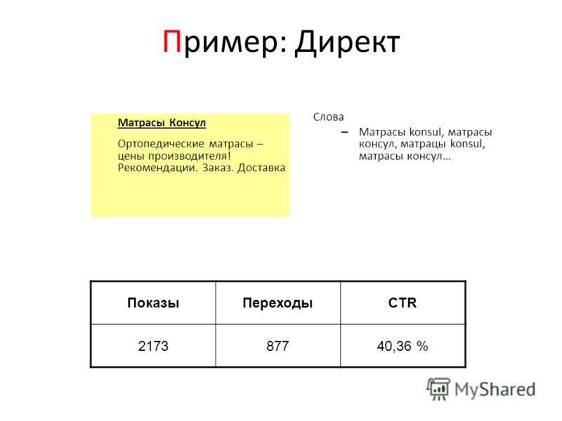 Пример: Директ Матрасы Консул Ортопедические матрасы – цены производителя! Рекомендации. Заказ. Доставка Слова – Матрасы konsul, матрасы консул, матрацы konsul, матрасы консул… ПоказыПереходыCTR 217387740,36 %