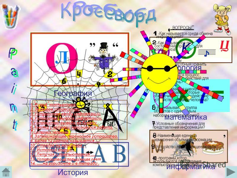 Зоология информатика География История математика