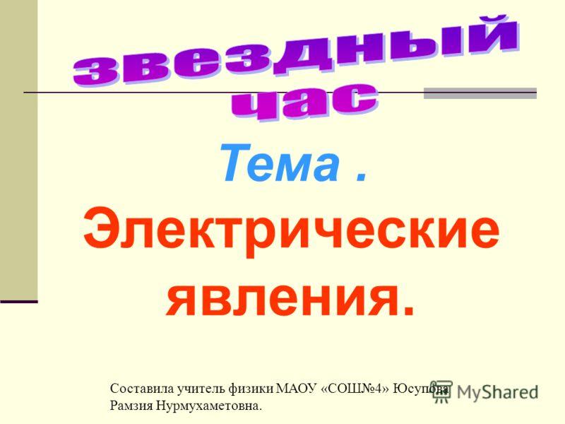 Тема. Электрические явления. Составила учитель физики МАОУ «СОШ4» Юсупова Рамзия Нурмухаметовна.
