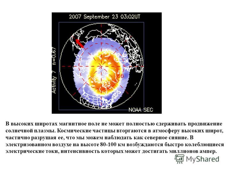 В высоких широтах магнитное поле не может полностью сдерживать продвижение солнечной плазмы. Космические частицы вторгаются в атмосферу высоких широт, частично разрушая ее, что мы можем наблюдать как северное сияние. В электризованном воздухе на высо