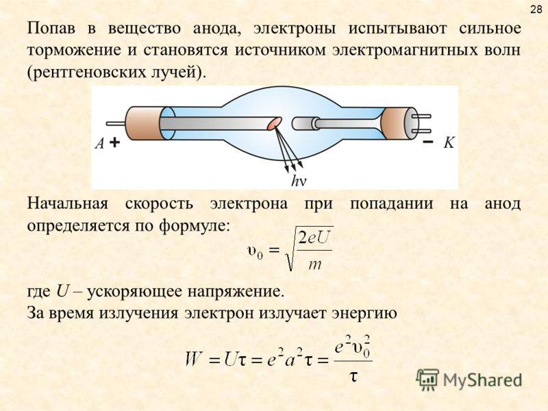 28 Попав в вещество анода, электроны испытывают сильное торможение и становятся источником электромагнитных волн (рентгеновских лучей). Начальная скорость электрона при попадании на анод определяется по формуле: где U – ускоряющее напряжение. За врем