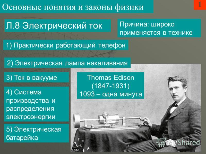 Причина: широко применяется в технике 1 Л.8 Электрический ток Основные понятия и законы физики Thomas Edison (1847-1931) 1093 – одна минута 1) Практически работающий телефон 2) Электрическая лампа накаливания 3) Ток в вакууме 4) Система производства