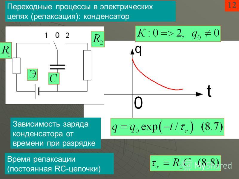 12 Переходные процессы в электрических цепях (релаксация): конденсатор Зависимость заряда конденсатора от времени при разрядке Время релаксации (постоянная RC-цепочки)