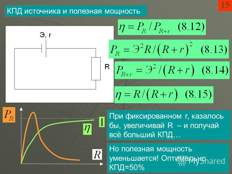 15 КПД источника и полезная мощность При фиксированном r, казалось бы, увеличивай R – и получай всё больший КПД… Но полезная мощность уменьшается! Оптимально КПД=50%