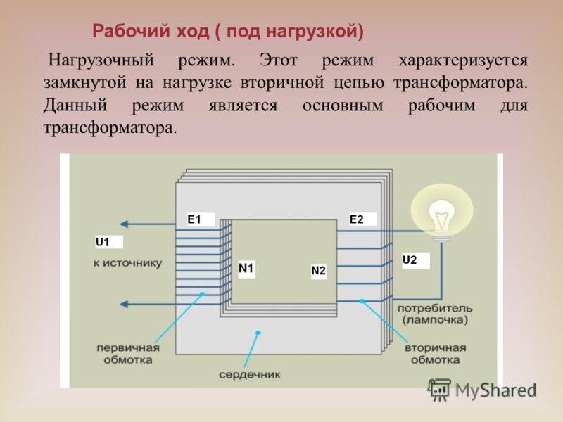 Рабочий ход ( под нагрузкой) Нагрузочный режим. Этот режим характеризуется замкнутой на нагрузке вторичной цепью трансформатора. Данный режим является основным рабочим для трансформатора.