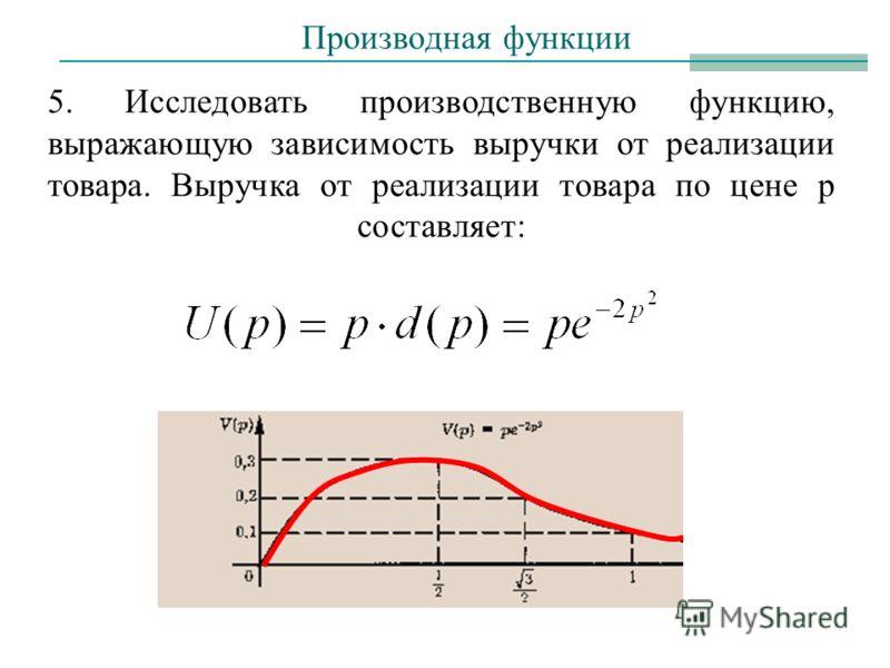 5. Исследовать производственную функцию, выражающую зависимость выручки от реализации товара. Выручка от реализации товара по цене p составляет: Производная функции