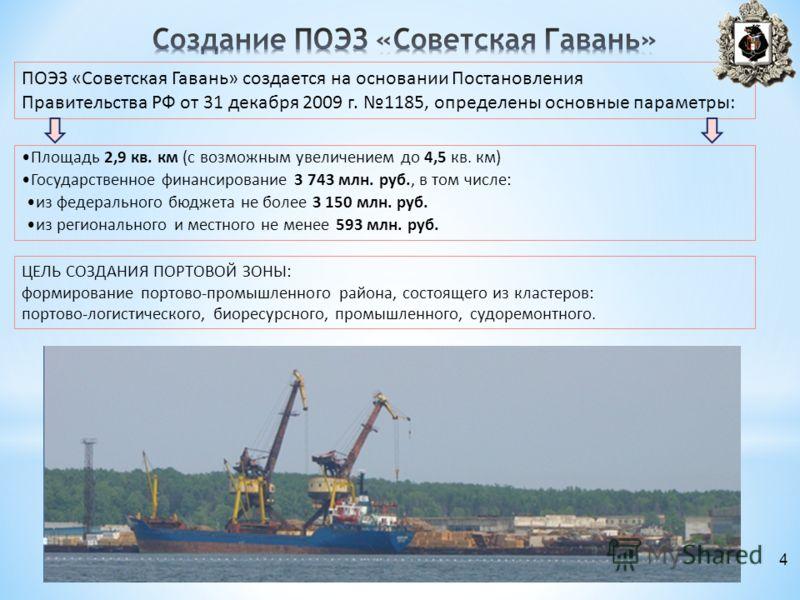 ПОЭЗ «Советская Гавань» создается на основании Постановления Правительства РФ от 31 декабря 2009 г. 1185, определены основные параметры: Площадь 2,9 кв. км (с возможным увеличением до 4,5 кв. км) Государственное финансирование 3 743 млн. руб., в том