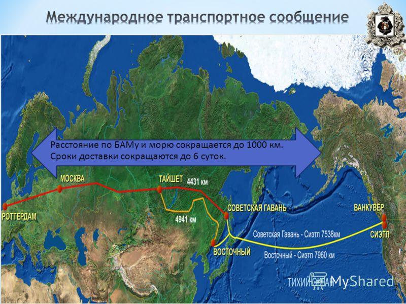 7 Расстояние по БАМу и морю сокращается до 1000 км. Сроки доставки сокращаются до 6 суток. 7