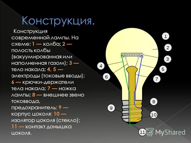 В лампе накаливания используется эффект нагревания проводника (тела накаливания) при протекании через него электрического тока (тепловое действие тока). Температура тела накала резко возрастает после включения тока. Для получения видимого излучения н