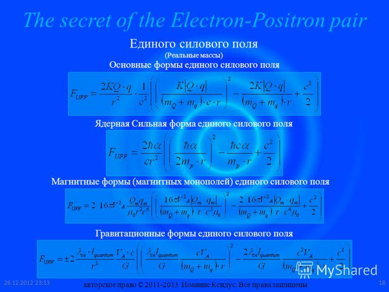 The secret of the Electron-Positron pair Единого силового поля (Реальные массы) Основные формы единого силового поля Ядерная Сильная форма единого силового поля Магнитные формы (магнитных монополей) единого силового поля Гравитационные формы единого