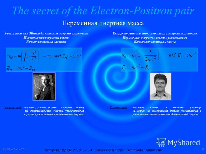 The secret of the Electron-Positron pair Переменная инертная масса Релятивистских Эйнштейна массы и энергии выражения Постоянства скорости света Качества: только частица Ксидус переменная инертная масса и энергия выражения Переменная скорость света с