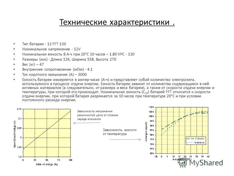 Технические характеристики. Тип батареи - 12 FFT 130 Номинальное напряжение - 12V Номинальная емкость В А-ч при 20°С 10 часов – 1.80 VPC - 130 Размеры (мм) - Длина 126, Ширина 558, Высота 270 Вес (кг) – 47 Внутреннее сопротивление (мОм) - 4.1 Ток кор