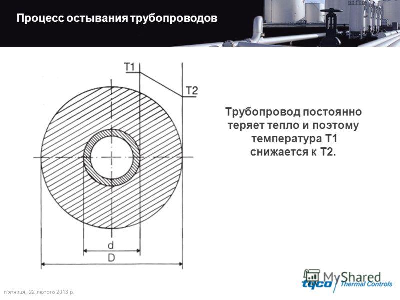 п'ятниця, 22 лютого 2013 р. Процесс остывания трубопроводов Трубопровод постоянно теряет тепло и поэтому температура T1 снижается к T2.