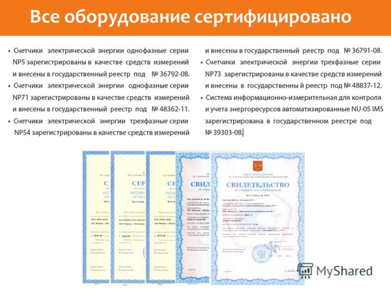 Все оборудование сертифицировано