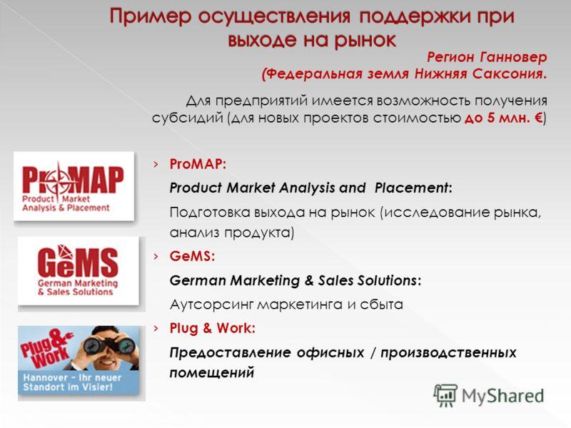 ProMAP: Product Market Analysis and Placement : Подготовка выхода на рынок (исследование рынка, анализ продукта) GeMS: German Marketing & Sales Solutions : Aутсорсинг маркетинга и сбыта Plug & Work: Предоставление офисных / производственных помещений