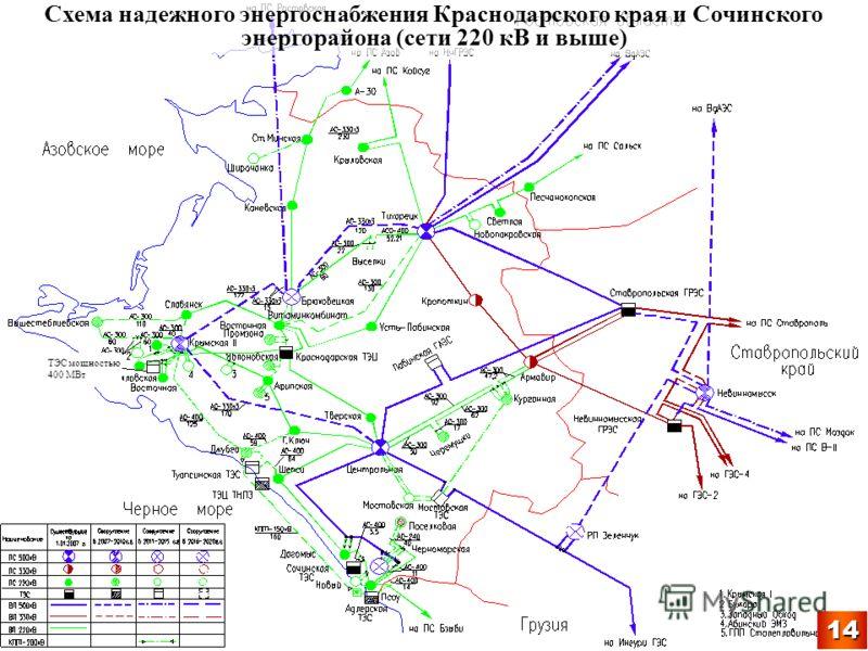 Схема надежного энергоснабжения Краснодарского края и Сочинского энергорайона (сети 220 кВ и выше) ТЭС мощностью 400 МВт 14
