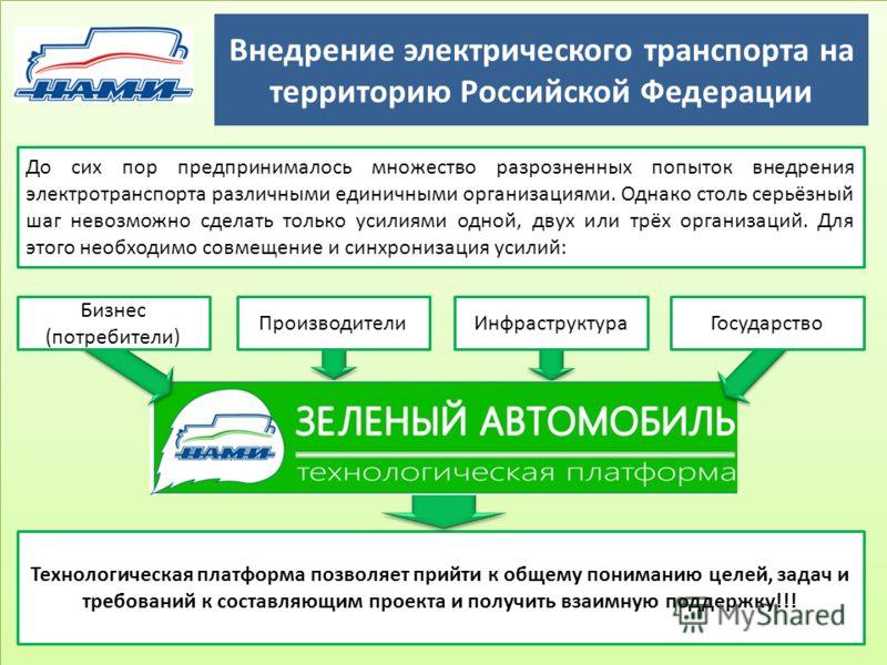 Внедрение электрического транспорта на территорию Российской Федерации 13 ПроизводителиИнфраструктура До сих пор предпринималось множество разрозненных попыток внедрения электротранспорта различными единичными организациями. Однако столь серьёзный ша