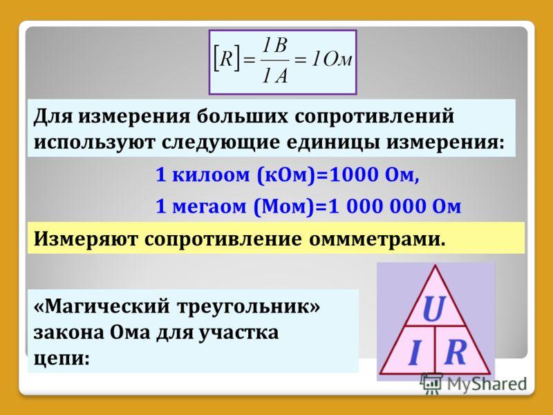 Для измерения больших сопротивлений используют следующие единицы измерения: 1 килоом (кОм)=1000 Ом, 1 мегаом (Мом)=1 000 000 Ом «Магический треугольник» закона Ома для участка цепи: Измеряют сопротивление оммметрами.