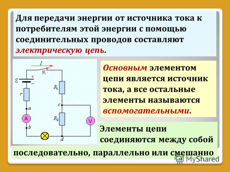 Для передачи энергии от источника тока к потребителям этой энергии с помощью соединительных проводов составляют электрическую цепь. Основным элементом цепи является источник тока, а все остальные элементы называются вспомогательными. Элементы цепи со