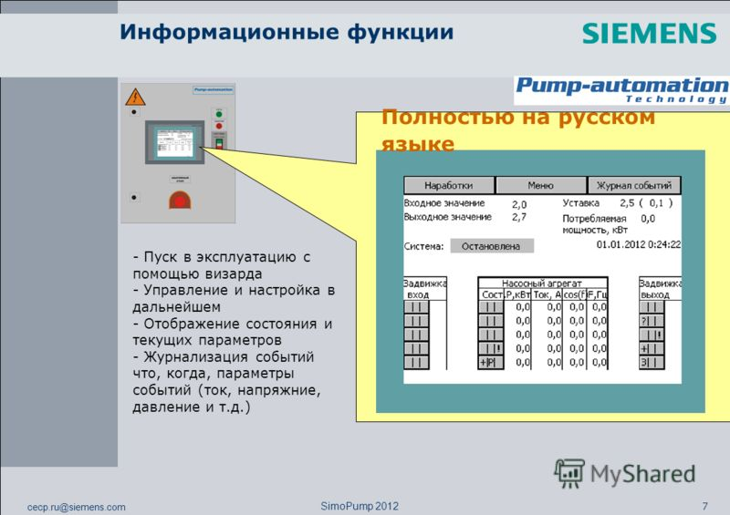 cecp.ru@siemens.com 7 SimoPump 2012 Информационные функции - Пуск в эксплуатацию с помощью визарда - Управление и настройка в дальнейшем - Отображение состояния и текущих параметров - Журнализация событий что, когда, параметры событий (ток, напряжние