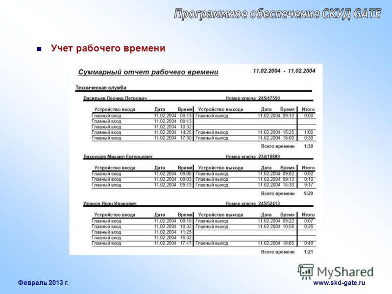Февраль 2013 г. www.skd-gate.ru Учет рабочего времени