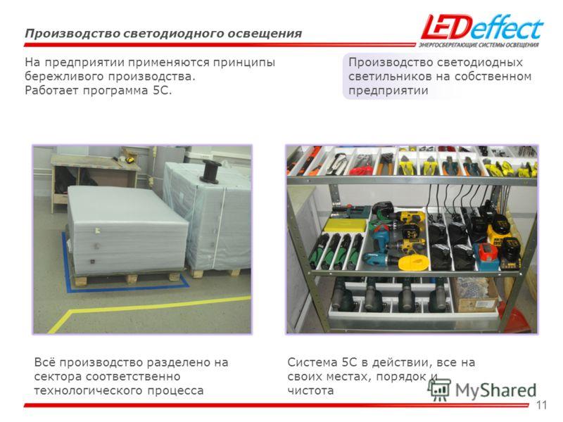 11 Производство светодиодного освещения Производство светодиодных светильников на собственном предприятии На предприятии применяются принципы бережливого производства. Работает программа 5С. Всё производство разделено на сектора соответственно технол