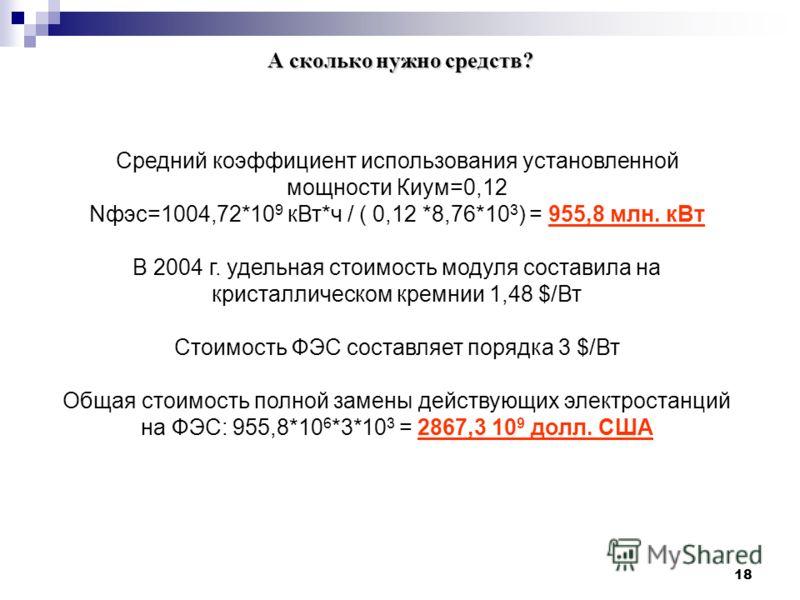 18 А сколько нужно средств? Средний коэффициент использования установленной мощности Киум=0,12 Nфэс=1004,72*10 9 кВт*ч / ( 0,12 *8,76*10 3 ) = 955,8 млн. кВт В 2004 г. удельная стоимость модуля составила на кристаллическом кремнии 1,48 $/Вт Стоимость