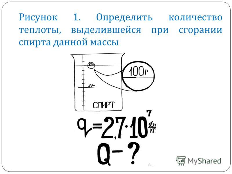 Рисунок 1. Определить количество теплоты, выделившейся при сгорании спирта данной массы