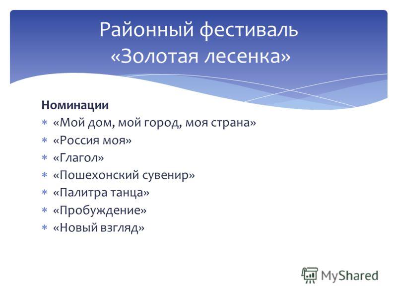Районный фестиваль «Золотая лесенка» Номинации «Мой дом, мой город, моя страна» «Россия моя» «Глагол» «Пошехонский сувенир» «Палитра танца» «Пробуждение» «Новый взгляд»