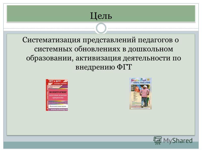 Цель Систематизация представлений педагогов о системных обновлениях в дошкольном образовании, активизация деятельности по внедрению ФГТ