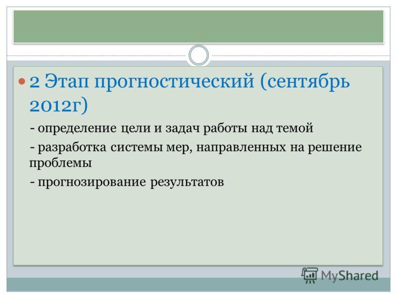 2 Этап прогностический (сентябрь 2012г) - определение цели и задач работы над темой - разработка системы мер, направленных на решение проблемы - прогнозирование результатов 2 Этап прогностический (сентябрь 2012г) - определение цели и задач работы над