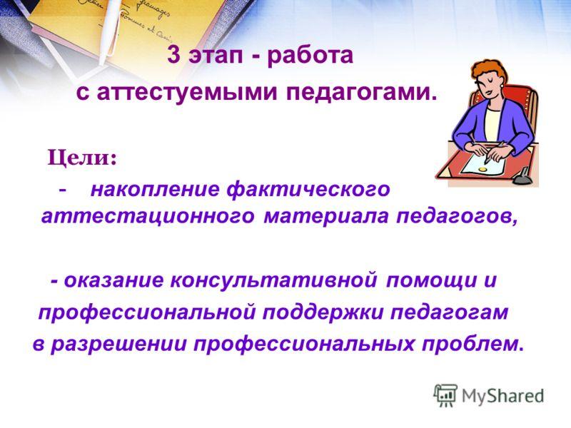 3 этап - работа с аттестуемыми педагогами. Цели: - накопление фактического аттестационного материала педагогов, - оказание консультативной помощи и пр