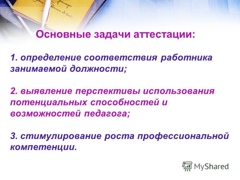 Основные задачи аттестации: 1. определение соответствия работника занимаемой должности; 2. выявление перспективы использования потенциальных способнос