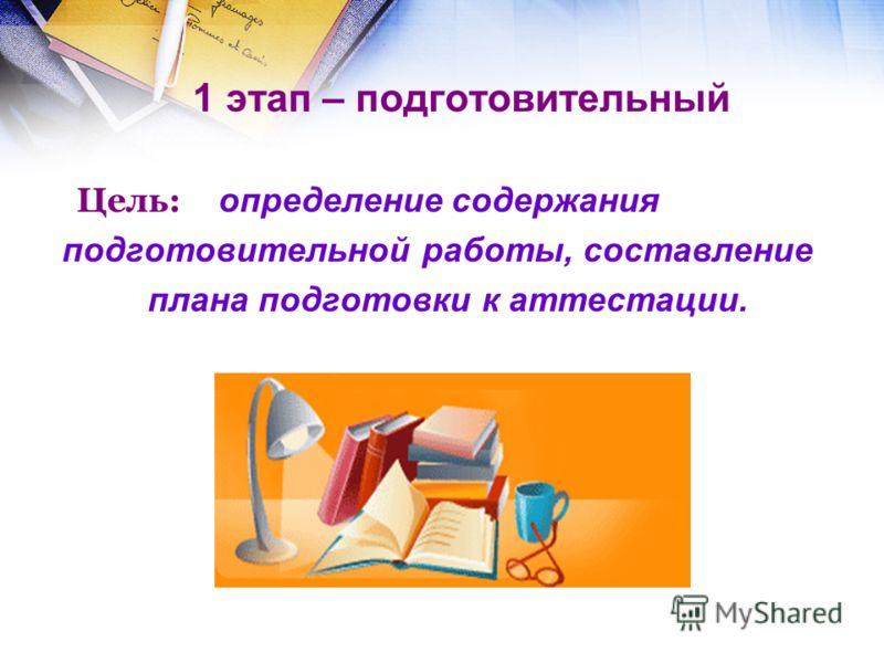 1 этап – подготовительный Цель: определение содержания подготовительной работы, составление плана подготовки к аттестации.