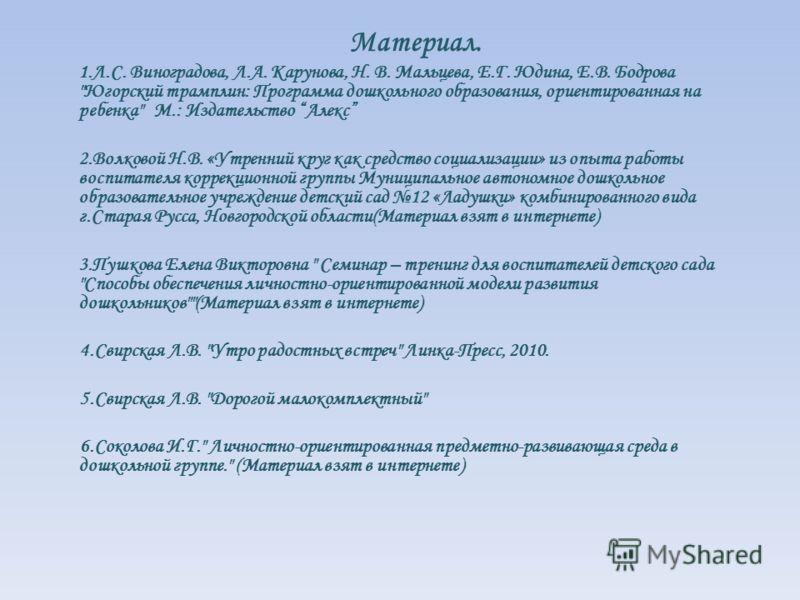 Материал. 1.Л.С. Виноградова, Л.А. Карунова, Н. В. Мальцева, Е.Г. Юдина, Е.В. Бодрова