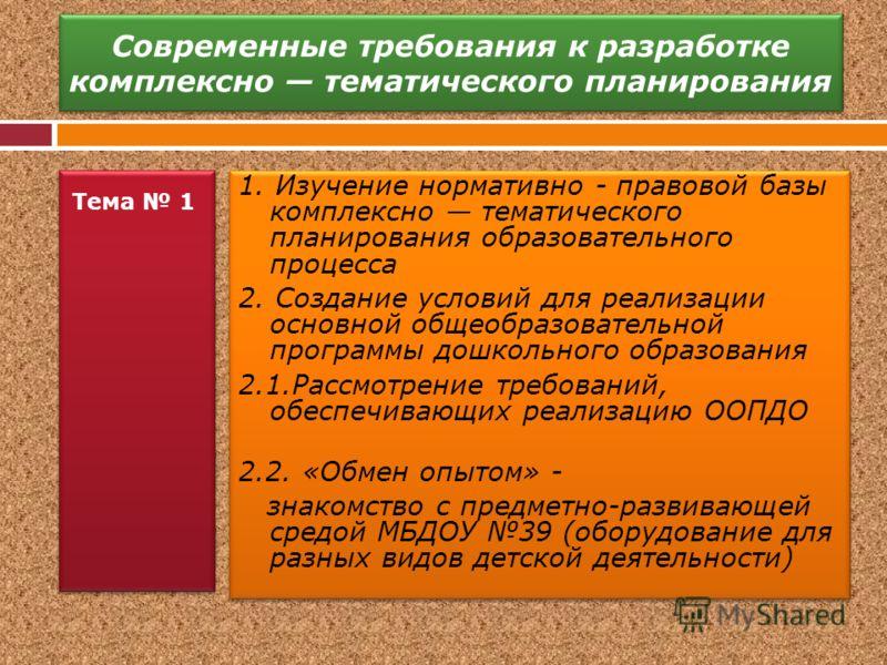 Современные требования к разработке комплексно тематического планирования Тема 1 1. Изучение нормативно - правовой базы комплексно тематического планирования образовательного процесса 2. Создание условий для реализации основной общеобразовательной пр