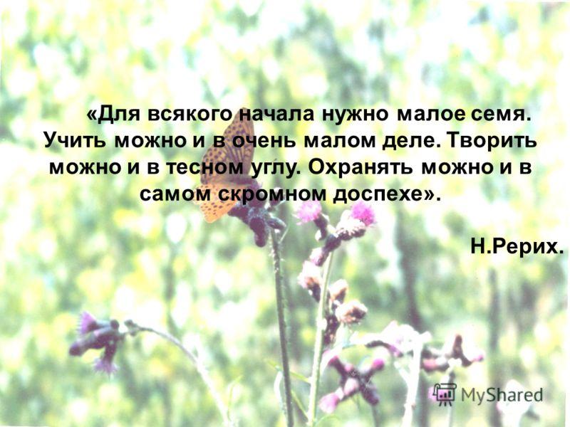 «Для всякого начала нужно малое семя. Учить можно и в очень малом деле. Творить можно и в тесном углу. Охранять можно и в самом скромном доспехе». Н.Рерих.