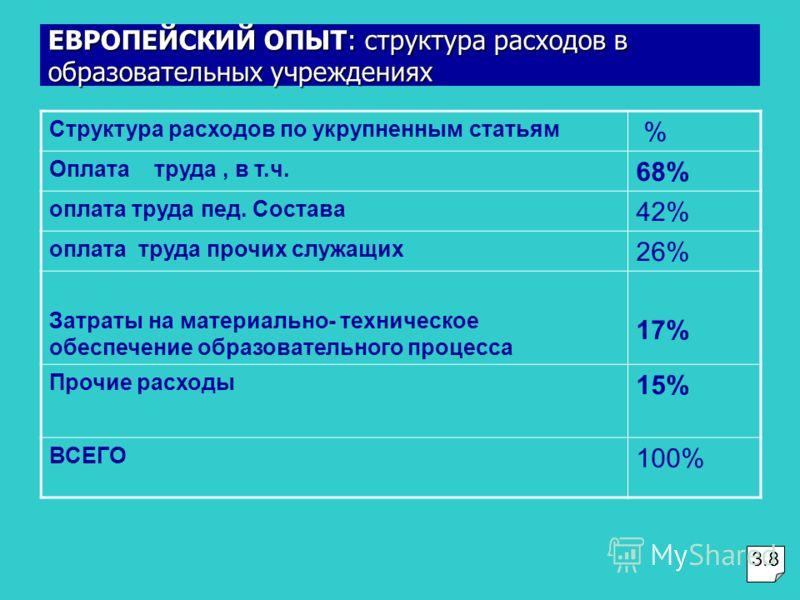 Структура расходов по укрупненным статьям % Оплата труда, в т.ч. 68% оплата труда пед. Состава 42% оплата труда прочих служащих 26% Затраты на материально- техническое обеспечение образовательного процесса 17% Прочие расходы 15% ВСЕГО 100% ЕВРОПЕЙСКИ