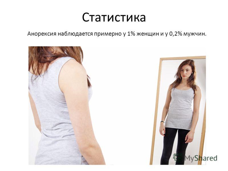 Статистика Анорексия наблюдается примерно у 1% женщин и у 0,2% мужчин.