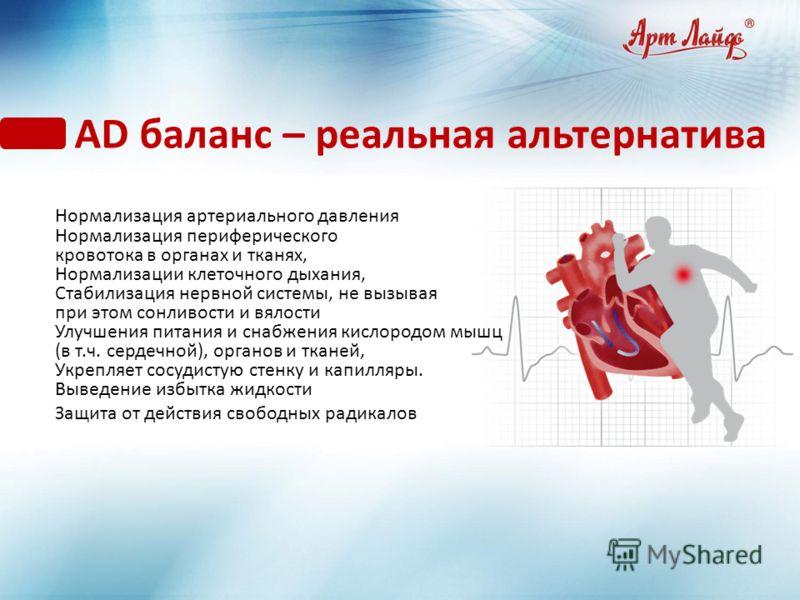 АD баланс – реальная альтернатива Нормализация артериального давления Нормализация периферического кровотока в органах и тканях, Нормализации клеточного дыхания, Стабилизация нервной системы, не вызывая при этом сонливости и вялости Улучшения питания