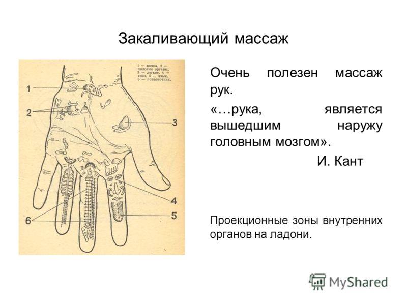 Закаливающий массаж Очень полезен массаж рук. «…рука, является вышедшим наружу головным мозгом». И. Кант Проекционные зоны внутренних органов на ладони.